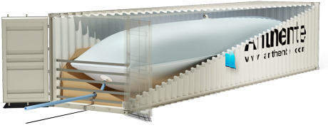 A cutaway of a shipping container showing a flexitank inside