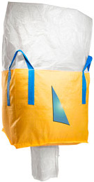 A yellow bulk bag with a duffle top and a spout bottom.