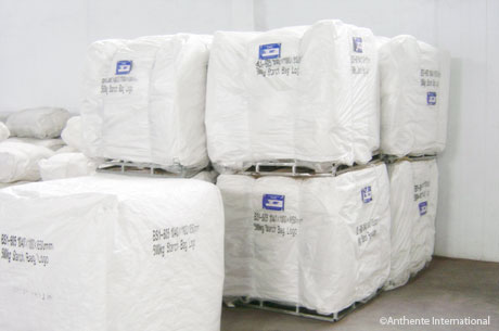 Wrapped bulk bags with metal pallets awaiting  shipment in our warehouses in China.