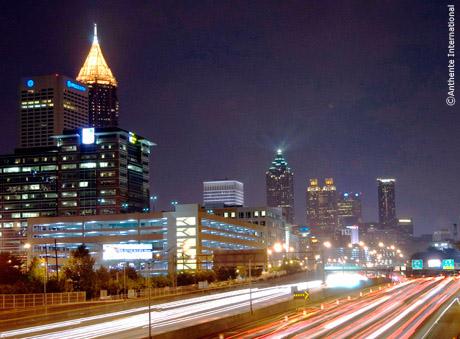 Night shot of Atlanta.