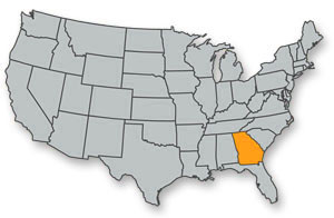 Map of the US highlighting the state of Georgia in the southeast.